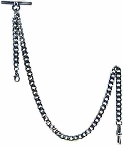 Albert Chain Pocket Watch Curb Link Chain Gunmetal Black T Bar + Fob Drop with Swivel Clip AC31
