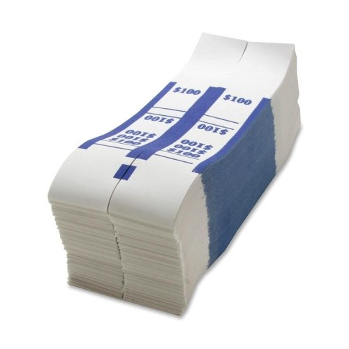 Sparco $100 Bill Strap - 1000 Wrap(s) - Kraft - White, Blue