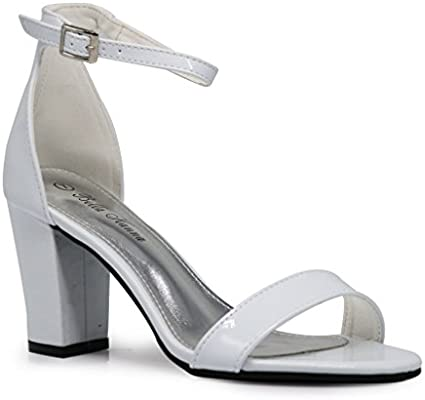 5ab1722b44818 IVK2 Womens Open Toe High Mid Chunky Heels Sexy Ankle Strap Sandals ...