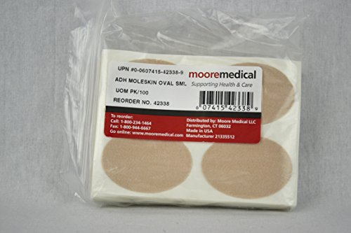 Moore Brand Moleskin Precut Pads, Oval, Small - 1/Case of 6