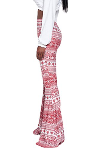 783b02710470 PinkWind Women Stretchy Soft Boho Print High Waist Flared Bells Floor-Length  Pants