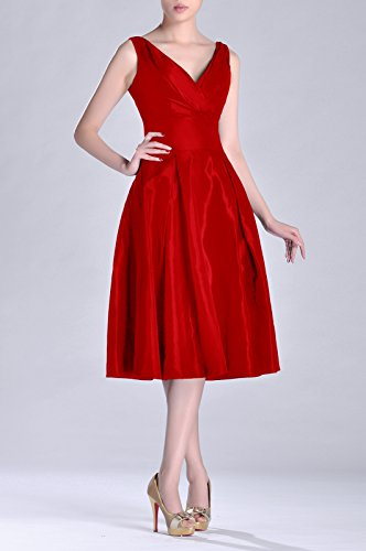 V bridesmaids Modest Taffeta Length Red neck A Formal Tea Dress Bridesmaid Pleated line Hq1IH5