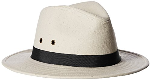 Ale by Alessandra Women's Skyler Adjustable Canvas Fedora Hat with Upf 50+ , Natural/Black, One Size