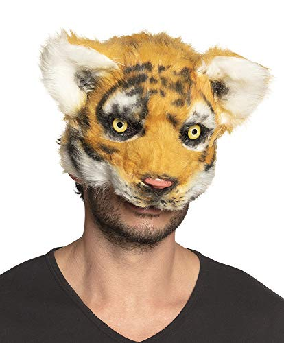 Boland Tiger Mask Adult Plush Half Face Mask Cat Halloween Fancy Dress Accessory -