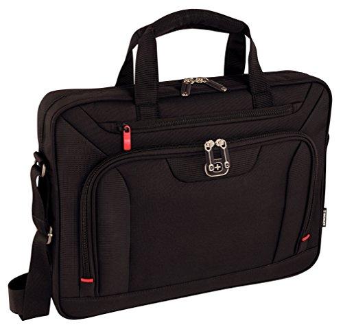 Wenger 600658 INDEX 16 Laptop Slimcase, gepolsterte Laptopfach mit iPad/Tablet / eReader Tasche in schwarz {10 Liter}