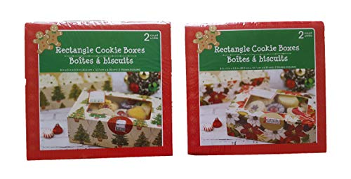 Christmas Treat & Cookie Rectangle Boxes (Set of 4) - For Gift Giving - For Treats, Containers & Tins, Pastry, Candy, Party Favors - Tree & Poinsettia Design
