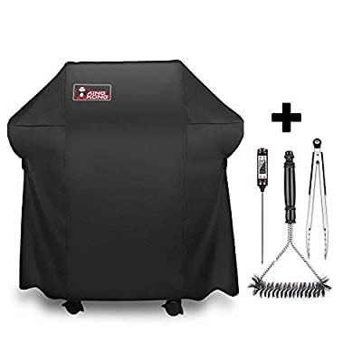 Kingkong 7105 Premium Grill Cover for Weber Spirit 210 Series Gas Grills with Collapsed Side Tables Bundle with Grill Brush and Tongs … by King Kong