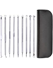 9 in 1 Blackhead Remover Kit, Blackhead Comedone Extractor Tool, pimple popper Blackhead Tweezers Kit acne remover for Nose Face Skin