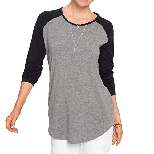 EVERICH Women Ladies Baseball Tee Raglan Sleeve High-Low Hem Casual Sport Shirt (Black, XXL)