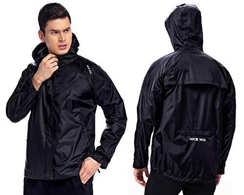 NICEWIN Portable Front Zip Rain Jacket-Pocket Size Breathable Hooded Pullover Raincoat Poncho for Men and Women Black ()