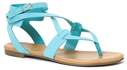 Women Flat Ankle Leatherette Criss Aqua Flip Casual Sandal Flop Cross Gladiator Strap LUSTHAVE OdqBwq