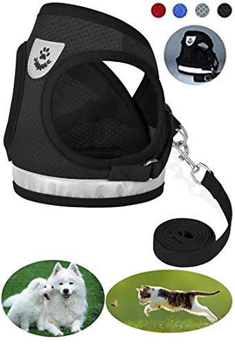 GAUTERF Cat Harness, Cat Escape Harness Proof with Leash - Leather Case Style Adjustable Reflective Soft Mesh Corduroy Cat and Dog Harnesses - Pet Universal Harnesses (X-Large, Black) ()