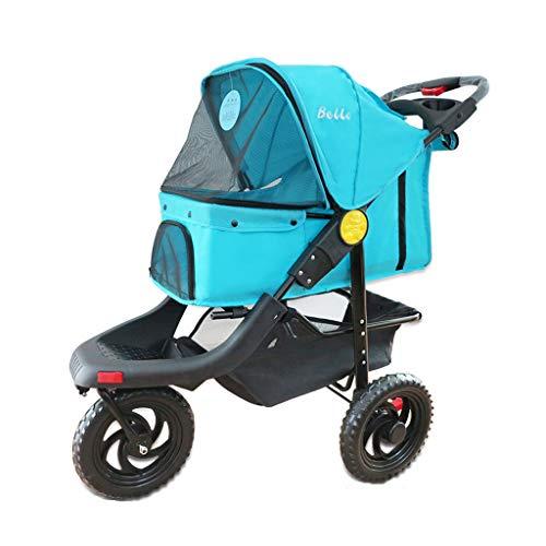 (Jzmaio A32 Pet Stroller Dog/Cat Pushchair Multi-Function Rainproof Animal Travel Carrier Big Wheel Pet Sports Car. Dog cart (Color : Cyan-Blue))