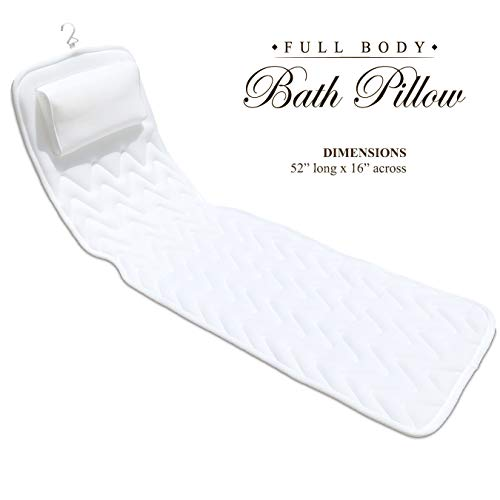 BathLife Full Body Bath Pillow Deluxe - Plush Quilted Bathtub Pillow with 3D Air Mesh Technology, Longer and Wider, Modern and Flexible, Care and Store with Ease! ()