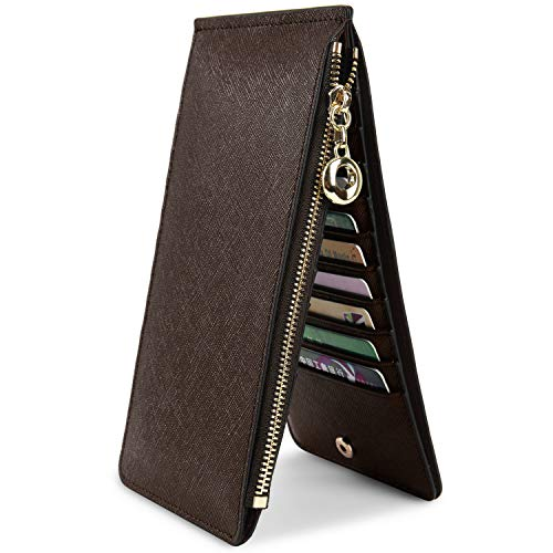 Open Pouch - YALUXE Women's RFID Blocking Genuine Leather Multi Card Organizer Wallet with Zipper Pocket RFID Blocking coffee
