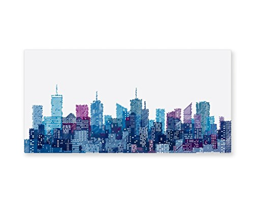 Lunarable New York Wall Art, Skyline of NYC Manhattan Brooklyn Bronx Queens Scratched Pattern, Gloss Aluminium Modern Metal Artwork for Wall Decor, 23.5 W X 11.6 L Inches, Dark Blue Pale Blue Violet -