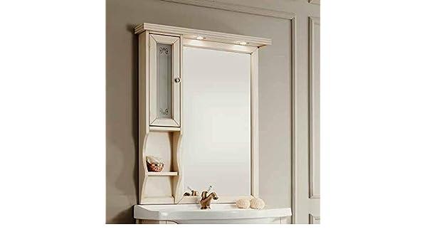 LIBEROSHOPPING.EU - Espejo de baño Retro con Puerta y estantes, Color Marfil: Amazon.es: Hogar