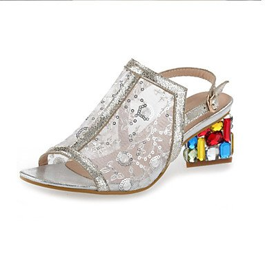 LvYuan sandalias de los zapatos del club primavera verano del zurriago de fiesta&vestido de noche diamantes de imitación Silver