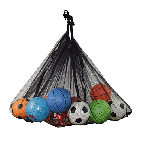 Sports Balls Storage Bag ,Pool Storage Bag,Jumbo Size Hanging Organizer Mesh Bag for Pool, Gym, Floats, Soccer,Basketballs, Kids inflatable Toys, Swim Rings , Yoga, Garbage with Long Strap (Black-XXL)