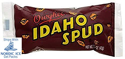 Box of Famous Idaho Spud Chocolate Candy Bars - Full Size Bar, Bulk, Specialty Candy Boxes, Soft Marshmallo Center Drenched with a Dark Chocolate Coating Sprinkled with Coconut