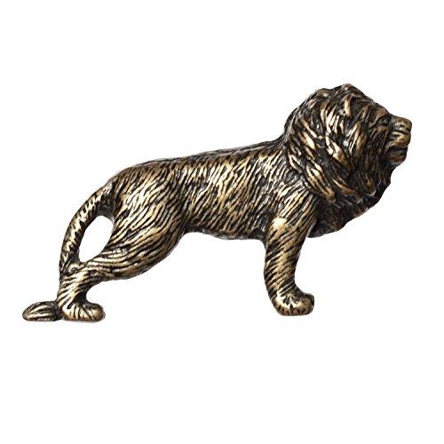 Small Brass Head Lion Knob (Big Sky Hardware Sierra Lifestyles Lion Knob, Antique Brass)