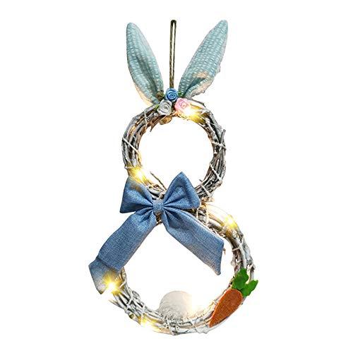 Todiri Decoraciones de Pascua con Luces Que Decoran Adornos de Corona de Círculo de Ratán Colgante Ornamento Puerta (Azul)