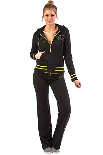 Trim Velour Hoodie Jacket (Vertigo Paris Women's Logo Cotton Lounge Tracksuit Jog Set - Black - Small)