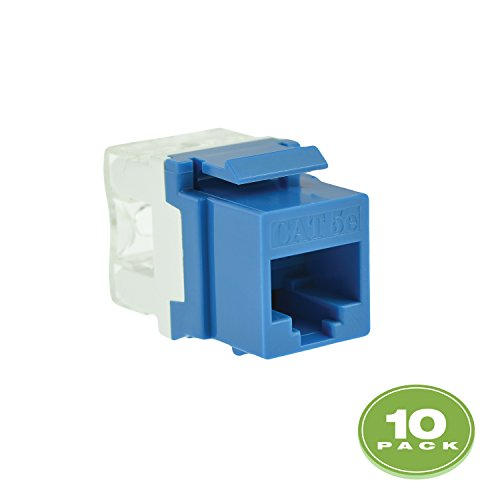 Mediabridge Cat5e Keystone Jack (Blue) - Punch-Down RJ45 Insert for Keystone Wall Plate - 10 Pack (Part# 51J-C5-BLU-10PK ) ()