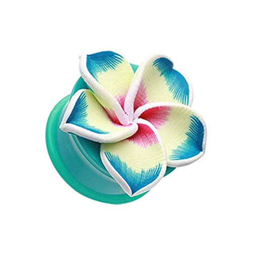 - Hawaiian Plumeria Flower Acrylic Ear Gauge WildKlass Plug (6 GA (4mm))