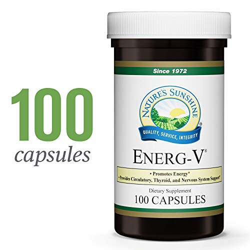 Nature's Sunshine Energ-V, 100 Capsules | Promotes Energy Production, Supports Circulatory Health, and Nourishes Both Nervous and Glandular Systems