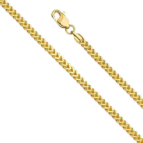 (Dubai Collections Franco Chain Necklace 18K Gold 2.5mm Box Jewelry Gift Men Women Charms Solid Lobster Clap Gift 22inch (22))