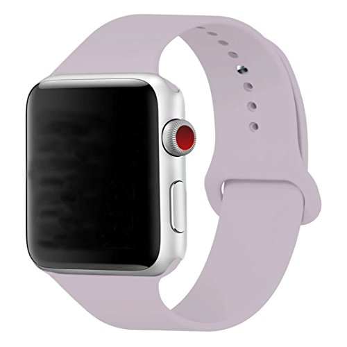 Band Compatible Apple Watch 38mm, Guangzhi (Metal Tuck Clasp Ouside/Correct Wearing Way in 4th Image) Soft Silicone Sport Strap Band Compatible iWatch Series 1/2 / 3, Sport, Edition,38mm, Lavender