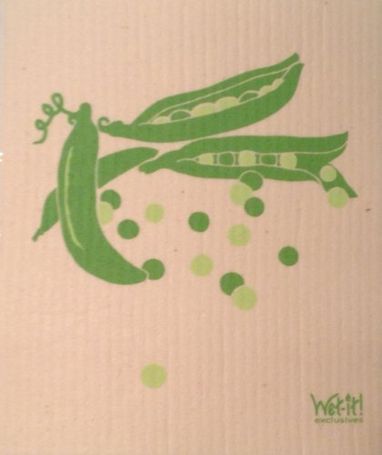 Swedish Treasures Wet-it! Cleaning Cloth, Pea Pods, Super Absorbent, Reusable, Biodegradable, (Swedish Rag)