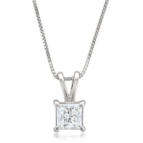 14k White Gold Princess-cut Diamond Solitaire Pendant Necklace (1/2 cttw, I-J, -