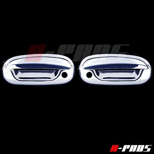 (A-PADS 2 Chrome Door Handle Covers for Ford F150 1997-2003 / F150 LIGHTNING 1999-03 / F150 HARLEY DAVIDSON 2001-03 / F150 HERITAGE 2004 / F250 LIGHT DUTY 97-99 - WITH Passenger Keyhole, WITHOUT Keypad )