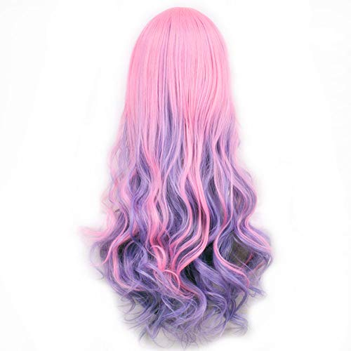 LACGO 32 80cm Curly Lolita Wavy Cosplay Costume Wig(Pink/Purple)(Pack of 1)