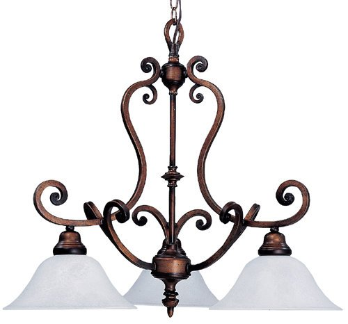 Framburg 1468 EB/WH Earthen Bronze / White Marble Ivy Renaissance 3 Light Down Lighting Chandelier from the Ivy ()