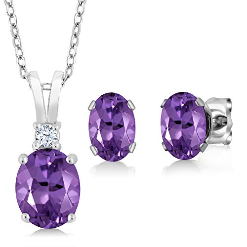Gem Stone King Purple Amethyst 925 Sterling Silver Pendant Earrings Set, 2.65 Ctw Oval Gemstone Birthstone