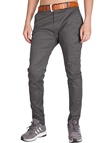 - ITALY MORN Men's Chino Khaki Flat Front Casual Pants 32 Dark Grey