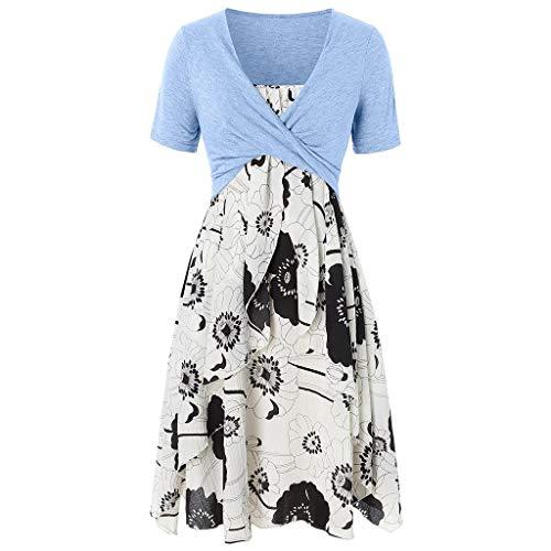 Women's Plain Short Sve Pleated Loose Swing Casual di Dress Knee-Length Beach Flower Ca Dress Sundress]()