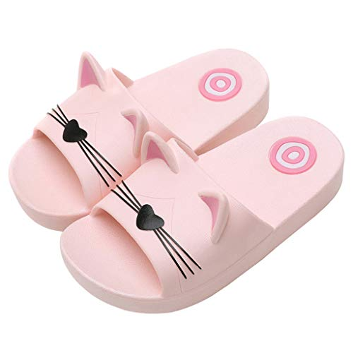 (Tronet Baby Kids Girls Boys Comfortable Home Slippers Cartoon Cat Floor Family Shoes Beach Sandals Beach Slippers Pink)