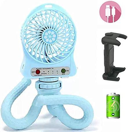 Mini Handheld Stroller Fan,Personal Portable Baby Fan with Flexible Tripod Fix on Stroller Student Bed Bike,USB or Battery Powered Desk Fan Adjustable 3 Speeds for Camping Traveling Blue