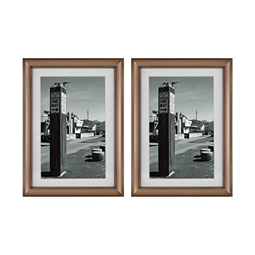 Frametory, 5x7 Coffee Color Frame - Set of Two - Ivory Mat for 4x6 Picture - Aluminum Metal - Easel Stand for Table Top - Swivel Tabs - Glass Front - Inner Fillet Edge Design (5x7 - Two Set) -