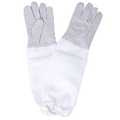 1 x Pair Beekeeping Protective Gloves with Vented Long Sleeves (Grey White)