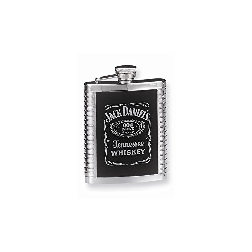 (Best Birthday Gift Jack Daniels Stainless Steel 6oz Leather Inset Ribbed Flask)