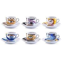 Zeller 26510 Servicio de Café Expreso, Magic Eyes, Porcelana, Multicolor, 32x13x8.5 cm, 12 Unidades
