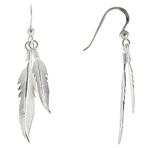 Les Poulettes Jewels - Earrings Two Feathers Sterling Silver (Feather Earrings Silver)