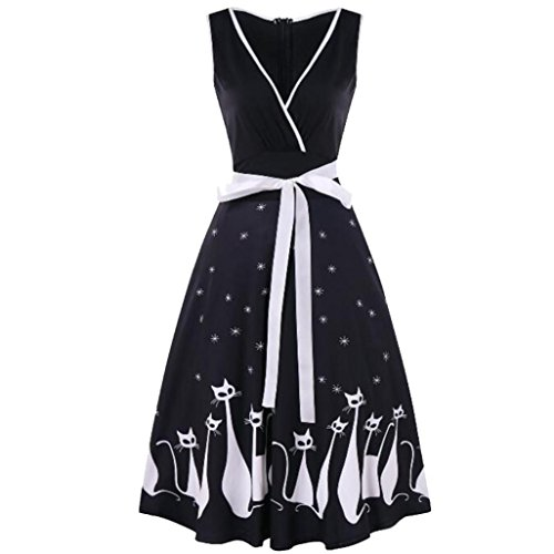 - Manxivoo Retro Cat Print Surplice Dress, Sleeveless Deep V Vintage Tea Dress with Bowknot 50s Style Swing Evening Party Dress (Black, L)