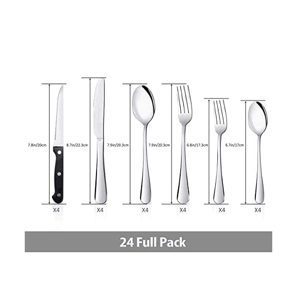Teivio 24-Piece Silverware Set, Flatware Set Mirror Polished, Dishwasher Safe Service for 4, Include Knife/Fork/Spoon… 2