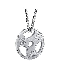 """Mens Stainless Steel Fitness Gym Dumbbell Weight Plate Barbell Pendant Necklace Gold/Silver 22"""" Chain"""